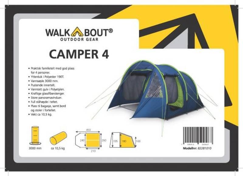 Walkabout Camper 4 Fam Telt  Blå/Lime