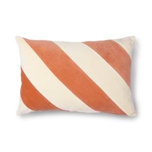 Bilde av Striped Velvet Cushion Peach