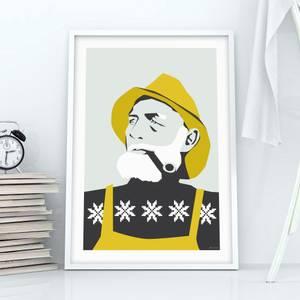 Bilde av Holviks Poster A3 - Fiskeren Gul