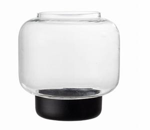 Bilde av Glasslykt med sort sokkel