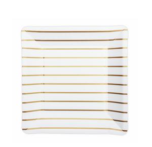 Bilde av Papptallerken med gullstriper