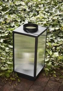 Bilde av Lanterne s/2 Sort Metall/Rillet Glass