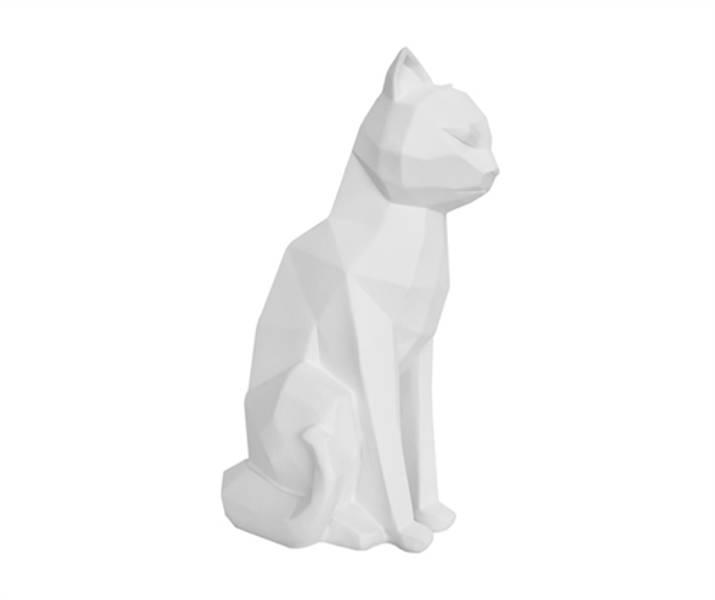 Dekorfigur Origami Katt Sittende Hvit