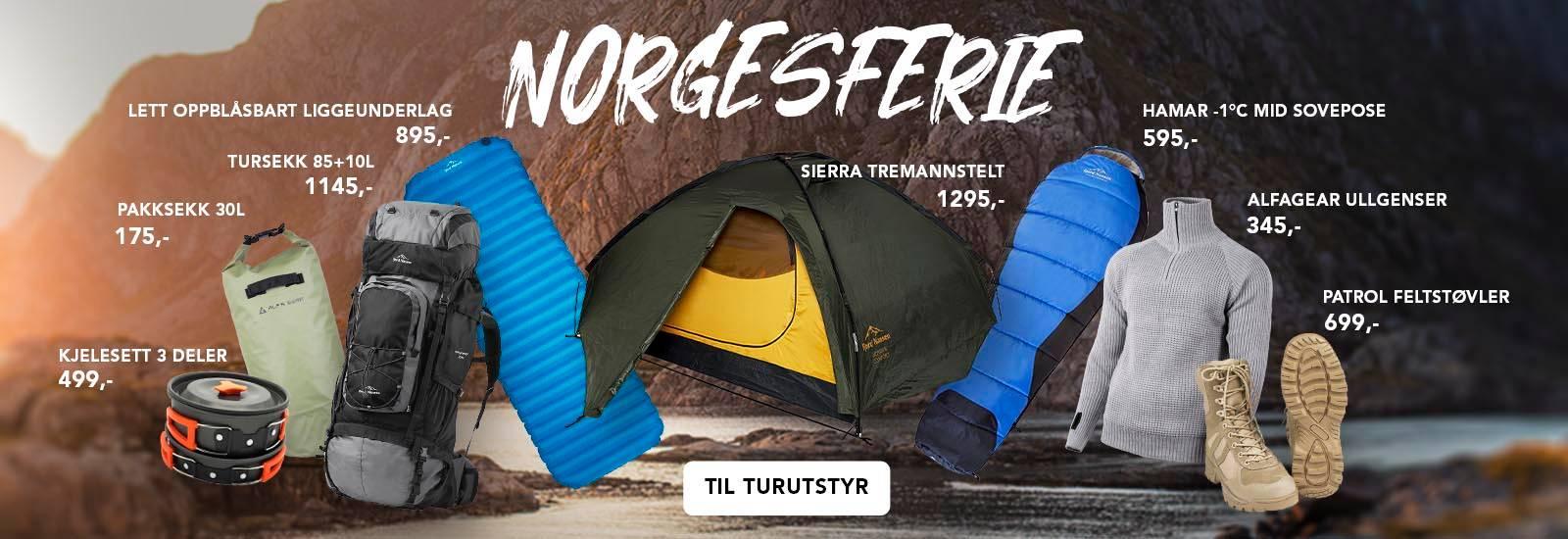 Billig turutstyr til Norgesferie. Allsidig utvalg av telt, soveposer og turutstyr som passer et hvert budsjett.