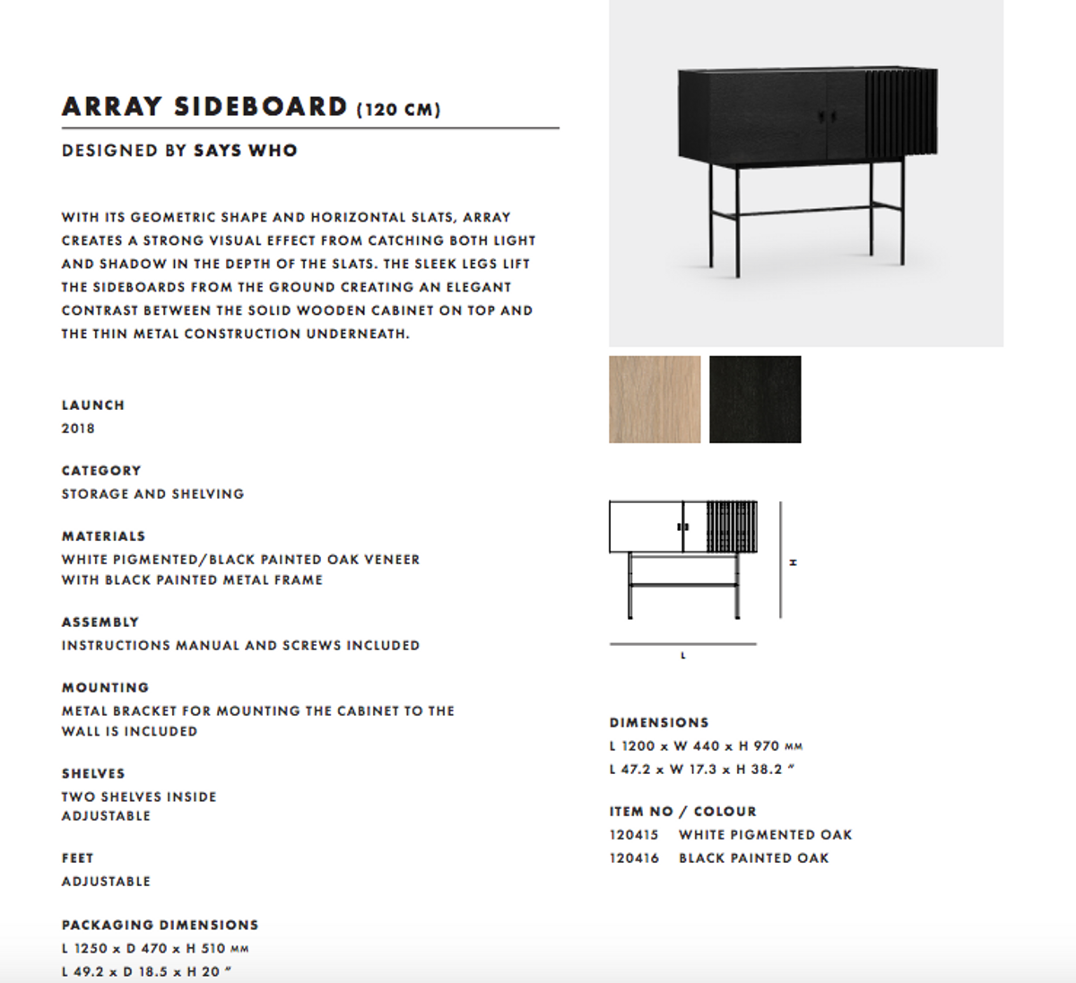 Woud Array sideboard (120 cm) - Svart