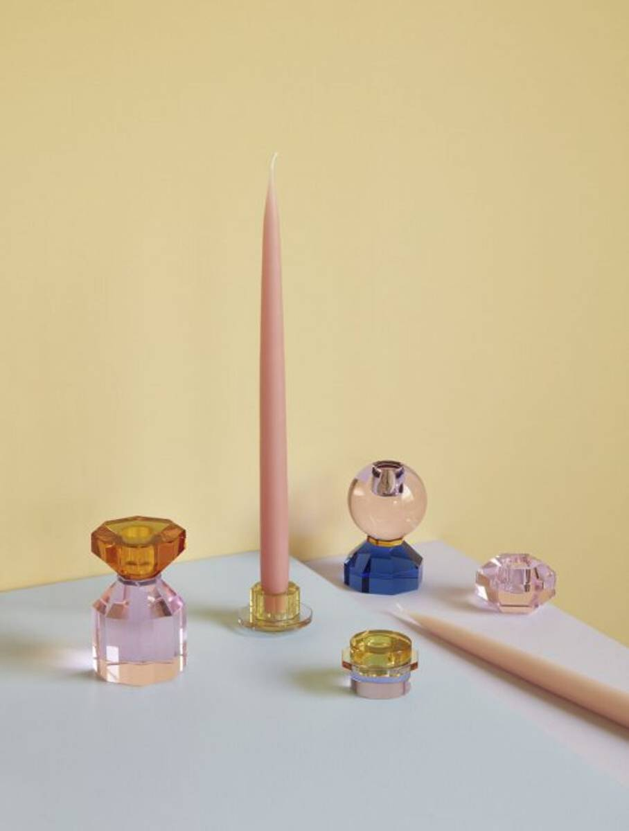 Hübsch Lysestake krystall - Rosa/amber