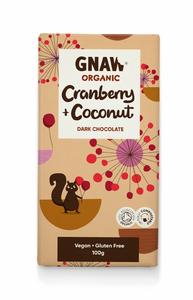 Bilde av Gnaw organic dark chocolate with cranberry &