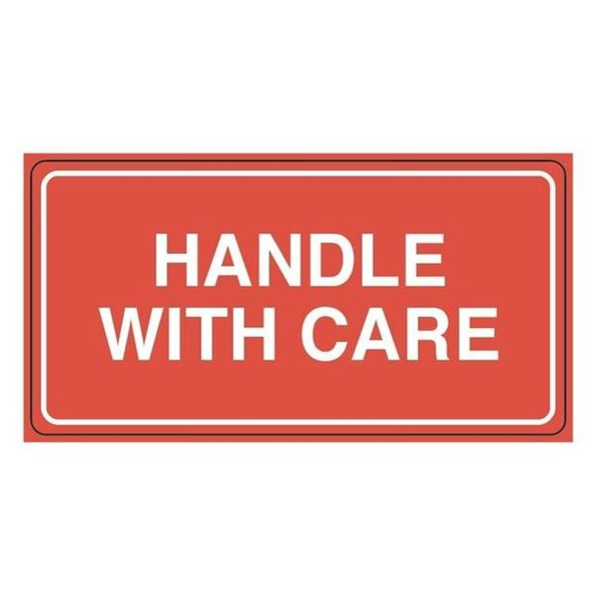 Etikett HANDLE WITH CARE 110x55 (rull)