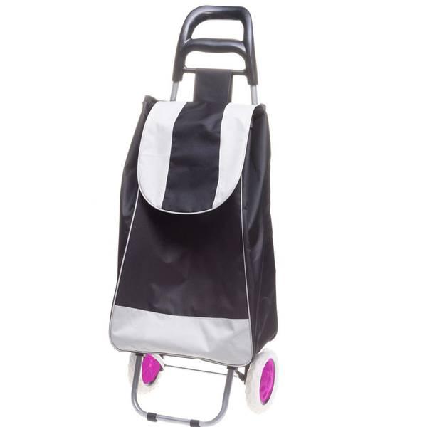 Bilde av Trillebag med hjul - sort med rosa hjul