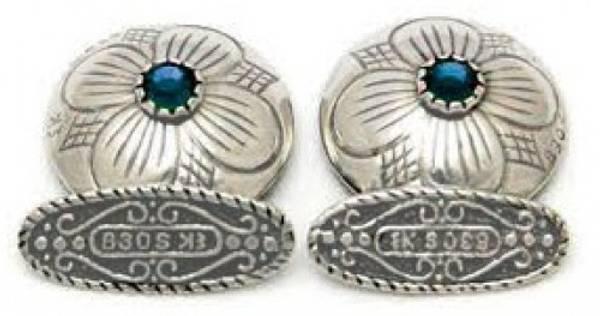 Bilde av Mansjettknapp med valgfri stein i hvitt sølv - 22001