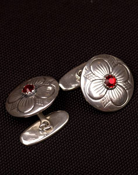 Bilde av Mansjettknapp i oksidert sølv med sten i valgfri farge