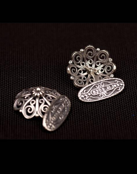 Bilde av Mansjettknapp i oksidert sølv - Bunadsølv - 22007