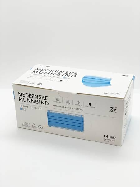 Bilde av 50 pk medisinske munnbind 3 lags type II - BIEDQ