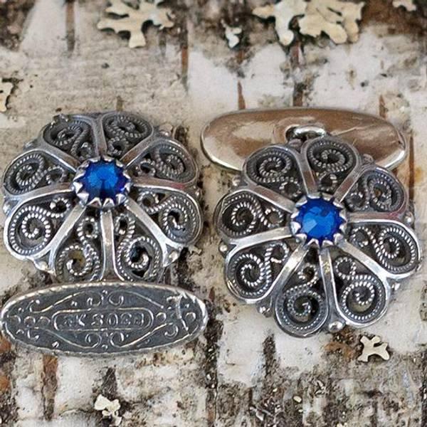 Bilde av Mansjettknapp,oksidert sølv med valgfri sten-22015