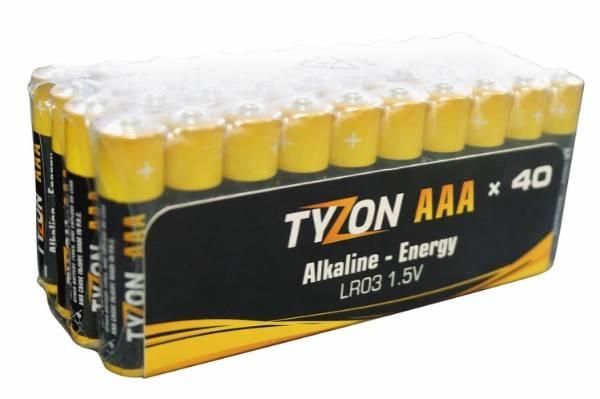 Bilde av Tyzon V AAA-alkaline-batterier, 40 stk.