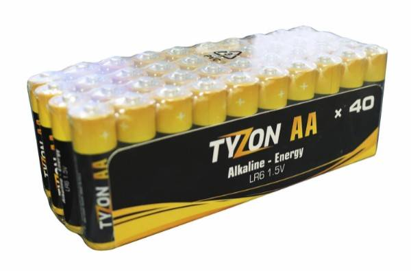 Bilde av Tyzon V AA-alkaline-batterier, 40 stk.