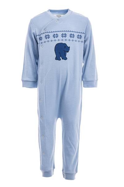 Bilde av Ullpyjamas til baby i lys blå - 100% merinoull