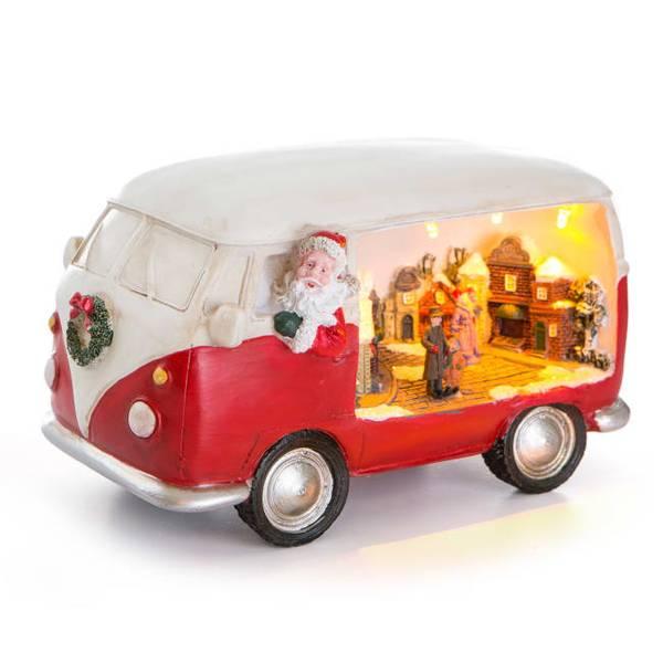 Bilde av Dekorfigur Nostalgi folkevognbuss med ledlys