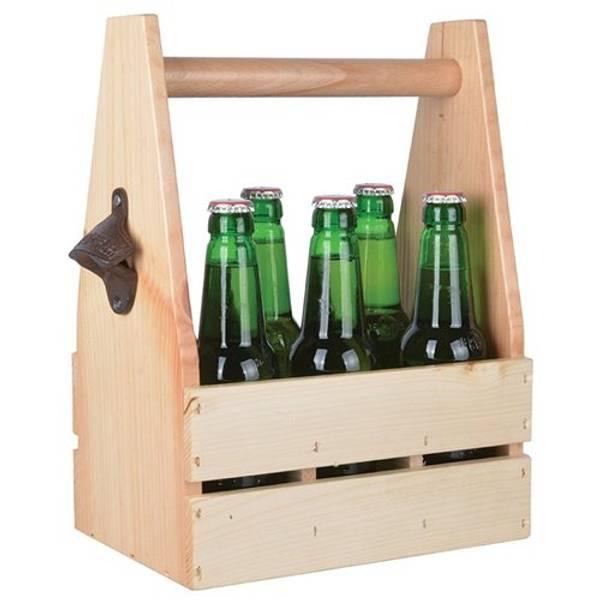 Bilde av Flaskekasse i treverk med flaskeåpner