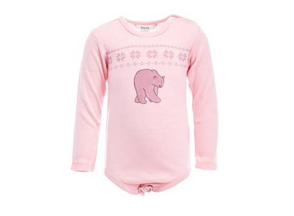 Bilde av Ullbody til baby i lys rosa - 100% merinoull