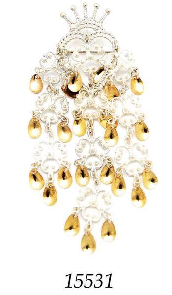 Bilde av Krunesylje i hvitt sølv med gullforgylte blad, stor