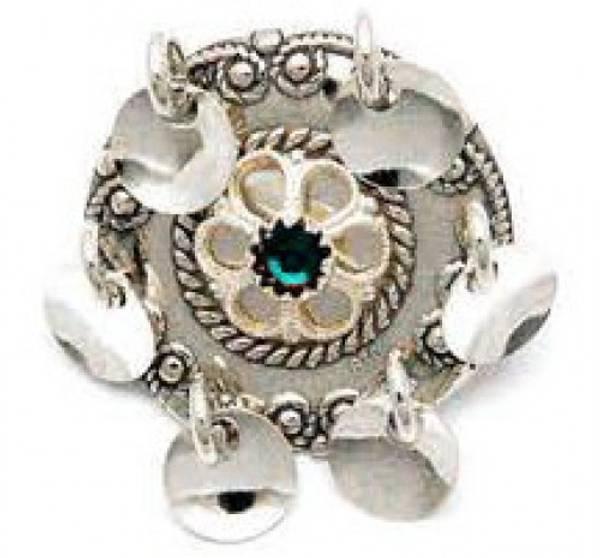 Bilde av Barnesølje i oksidert sølv med valgfri farget sten - 66005