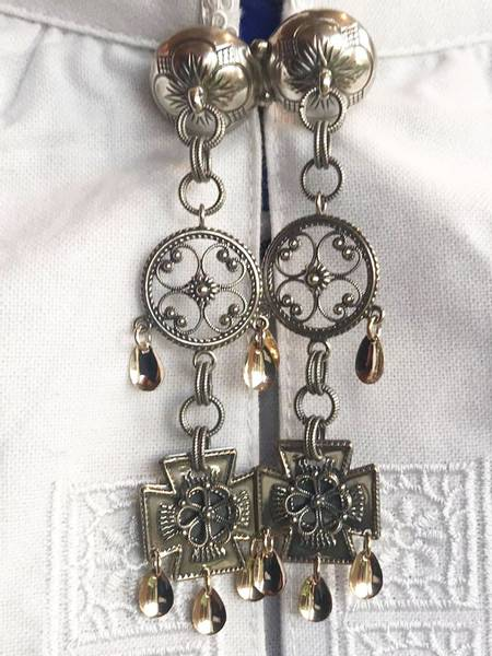 Bilde av Stor halsknapp i oksidert sølv - 12219