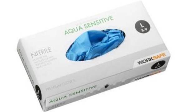 Bilde av 100 pk Worksafe nitrile aqua sensitive engangshansker