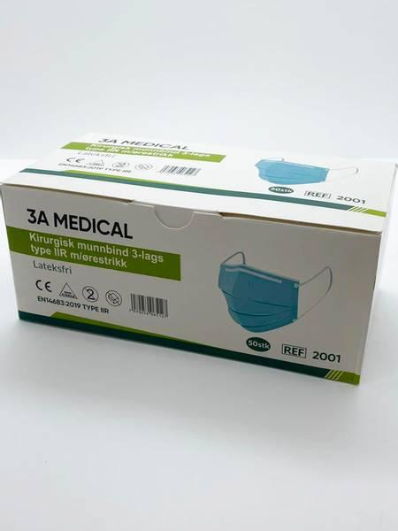 Bilde av Munnbind 50 pk 3 lags type IIR - 3A Medical