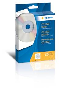 Bilde av CD/DVD lommer 124x124mm, selvkl. bakside, hvit 25