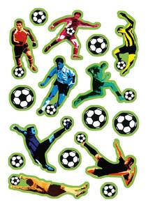 Bilde av DECOR Stickers Farge fotballer, 3 ark (10 pakk)