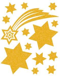 Bilde av Vindusdekor Gull Stjerner, selvklebende folie, 14