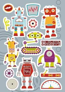 Bilde av DECOR Stickers Robotfamilie, 3 ark (10 pakk)