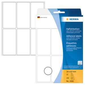 Bilde av HERMA standardetiketter, hvit 34x67 mm (192 stk)
