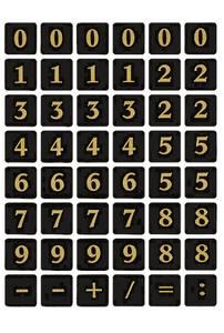 Bilde av VARIO talletiketter 13x13 mm 0-9, svart/gull, 2