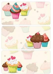 Bilde av DECOR Etiketter til pynt Cupcakes, 3 ark (10