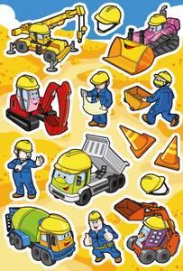 Bilde av DECOR Stickers Byggeplass, 3 ark (10 pakk)