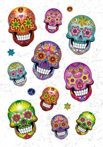 Bilde av MAGIC Stickers Sugar skull, glitterfolie, 1 ark