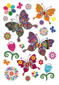 Bilde av MAGIC Stickers Hippie sommerfugler, glitterfolie,