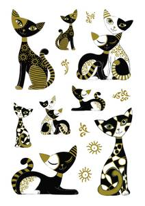 Bilde av MAGIC Stickers Katter i gull, plastmateriale, 1