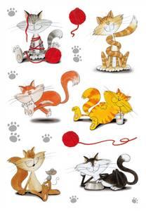Bilde av DECOR Stickers Lekne katter, glitter, 2 ark (10