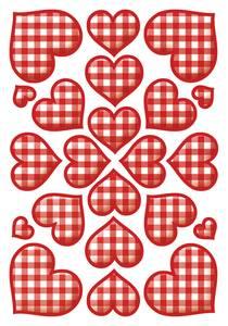 Bilde av DECOR Stickers Rutete hjerter, 3 ark (10 pakk)