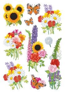 Bilde av DECOR Stickers Moderne blomster, 3 ark (10 pakk)