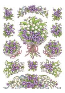Bilde av DECOR Stickers  Fiolett blomsterbukett, 3 ark (10