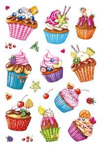 Bilde av DECOR Stickers  Cupcakes, glitterfolie, 2 ark (10