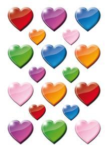 Bilde av DECOR Stickers Fargerike hjerter, 3 ark (10 pakk)