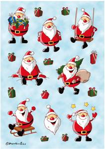 Bilde av DECOR Stickers Glade julenisser, 3 ark (10 pakk)