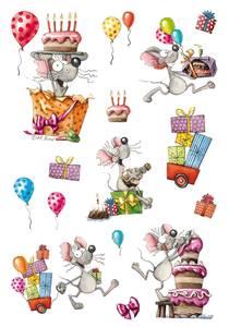 Bilde av MAGIC Stickers bursdagsmus, glitterfolie, 1 ark
