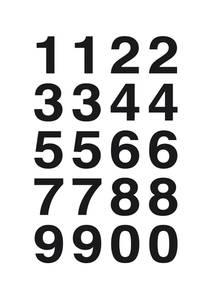 Bilde av VARIO talletiketter 20x18 mm, 0-9, svart/klar, 2