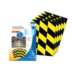 Bilde av Covid gulvmerke sort og gul, 1 ark (5 pakk)
